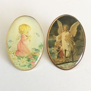 Vintage Oval Angel Spiritual Pins